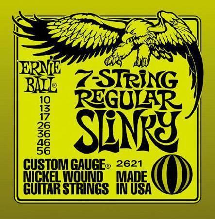 Струны для электрогитары ERNIE BALL 2621 7 струн (10-13-17-26-36-46-56)