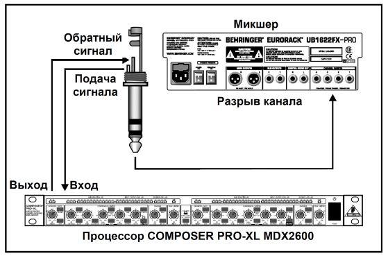 Схема подключения устройства в качестве выходного мастер-компрессора/лимитера