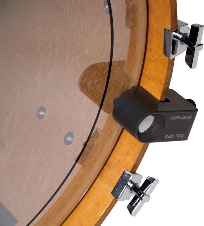 Установка триггеров со слегка придавленным к пластику пьезо не требует изменения в конфигурации ударной установки