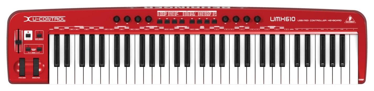 На фото – MIDI-клавиатура BEHRINGER UMX610