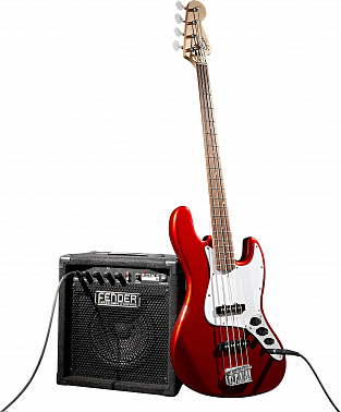БАСОВЫЙ КОМПЛЕКТ FENDER SQUIER AFFINITY J-BASS&RUMBLE 15 AMP - METALLIC RED