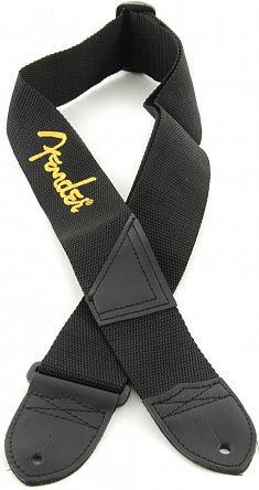 РЕМЕНЬ FENDER BLACK STRAP/YELLOW LOGO